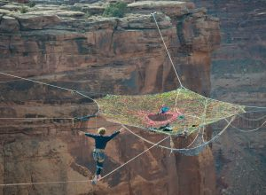 Extreme sports: Moab Monkeys slackline, base jump from hammock floating 400ft above the desert